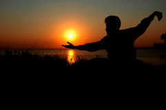восход солнца человека Стоковые Изображения