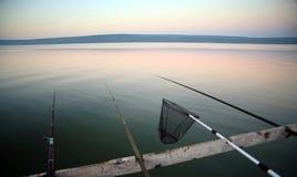 восход солнца штаног озера рыболовства Стоковое Изображение RF