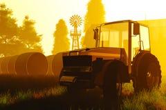 Восход солнца 3D захода солнца принципиальной схемы земледелия представляет 2 Стоковое Фото