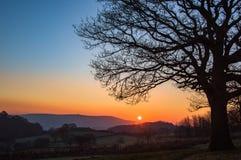 Восход солнца, Llanwonno Стоковое Изображение RF