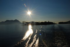 восход солнца pescatori maggiore озера isola dei Стоковое фото RF