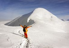 Восхождение к Hoverla в зиме Стоковые Фото