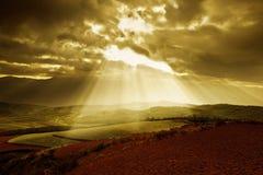 восход солнца красного цвета земли Стоковая Фотография