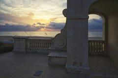 восход солнца ладони пляжа стоковое изображение rf
