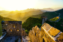 Восход солнца Великая Китайская Стена Стоковые Изображения RF