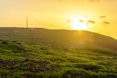 Восход солнца в горах и океане на острове Мадейры, Португалии Стоковая Фотография RF