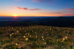 Восход солнца в горах Кавказа Природный парк Adygea большого Thach Стоковые Изображения