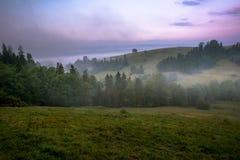 Восход солнца в горах Gorce Стоковое Фото