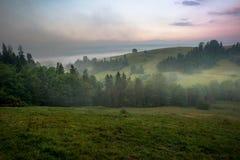 Восход солнца в горах Gorce Стоковые Фотографии RF
