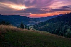 Восход солнца в горах Gorce Стоковое Изображение RF