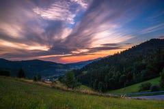 Восход солнца в горах Gorce Стоковое Изображение