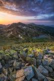 Восход солнца в горах Retezat Стоковые Изображения