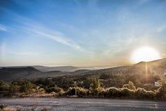 Восход солнца в горной области Стоковые Изображения