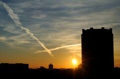 Восход солнца в городе Стоковое Фото