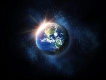 Восход солнца в космосе Стоковое Изображение