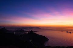 Восход солнца в Рио-де-Жанейро, Бразилии Стоковая Фотография RF