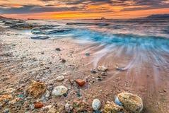 Восход солнца в северо-восточном побережье Тайваня Стоковое Фото