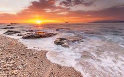 Восход солнца в северо-восточном побережье Тайваня Стоковая Фотография RF