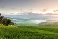 Восход солнца в сельской местности, Тоскане Стоковое фото RF
