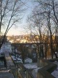 Восход солнца в старом городке, Kamenets-Podolskiy, Украина Стоковые Фото