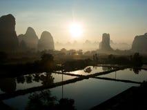 Восход солнца в Yangshuo Стоковое фото RF