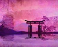 Восход солнца горы в Японии Стоковое Изображение