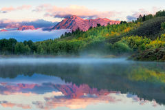 Восход солнца загиба Oxbow Стоковое Фото