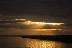 Восход солнца захода солнца на джунглях Амазонкы Стоковые Фотографии RF