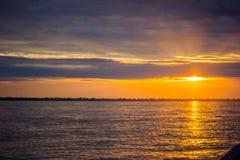 Восход солнца захода солнца на джунглях Амазонкы Стоковая Фотография RF