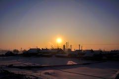 Восход солнца зимы в северо-восточной стране Китая Стоковые Изображения RF
