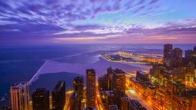 восход солнца зимы озера в Чикаго Стоковое Изображение RF