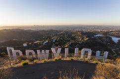 Восход солнца знака Голливуда Стоковые Изображения RF