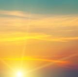 Восход солнца и облачное небо Стоковые Фото