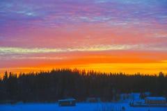 10am восход солнца, Йеллоунайф, северо-западные территории Стоковое Изображение RF