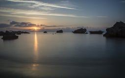 Восход солнца Кипра, море Mediterian Стоковые Фотографии RF
