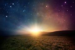 Восход солнца космоса стоковая фотография