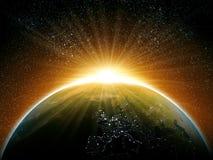 Восход солнца космоса иллюстрация вектора