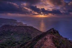 Восход солнца кратера Оаху Стоковая Фотография