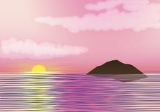 Восход солнца Ландшафт утра на море также вектор иллюстрации притяжки corel Стоковое Изображение