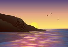 Восход солнца Ландшафт утра на море также вектор иллюстрации притяжки corel Стоковая Фотография