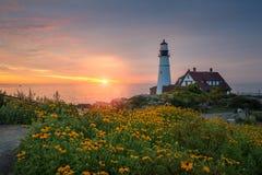 Восход солнца маяка головы Портленда Стоковая Фотография RF