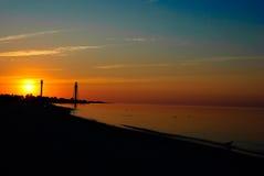 Восход солнца моря с чайками Стоковое Изображение RF