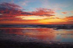 Восход солнца на Балтийском море в heringsdorf Германии Стоковые Фото