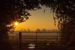Восход солнца над великобританской сельской местностью Стоковые Изображения