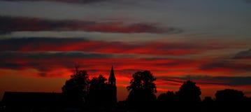 Восход солнца на городе Cinevilla кино стоковое фото rf
