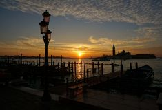 Восход солнца на грандиозном канале, Венеция Стоковые Фото