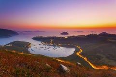 Восход солнца на заливе в Гонконге Стоковая Фотография RF