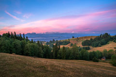 Восход солнца на зоне Spisz Стоковое фото RF