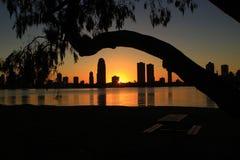 Восход солнца над зданиями Стоковое Фото