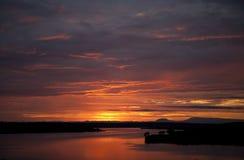 Восход солнца над каналом Kazinga вышесказанного Уганда Стоковая Фотография